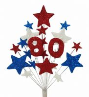 Number age 80th birthday cake topper decoration in red, white and blue - free postage
